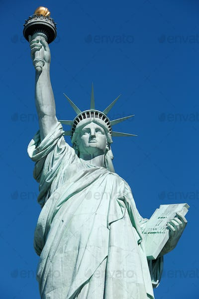 Statue of Liberty, clear blue sky