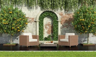 Luxury garden in classic style