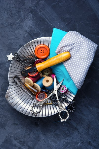 Buttons, scissors and thread