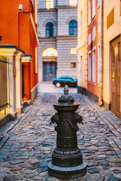 Riga, Latvia. Small Column Pillar Shaft Stake Pile At Torna Stre