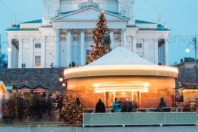 Helsinki, Finland. Xmas Market On Senate Square With Holiday Car