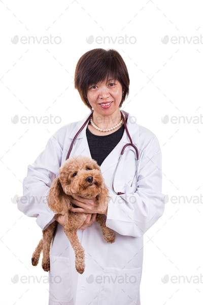 Smiling Asian female veterinary doctor hugging pet dog