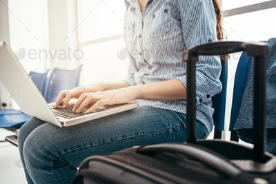 Woman connecting in the waiting room