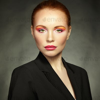 Beauty portrait of woman with beautiful makeup