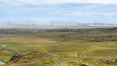 above view of reykjadalur valley in september