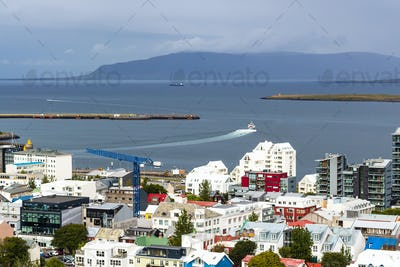 above view of city and port in Reykjavik
