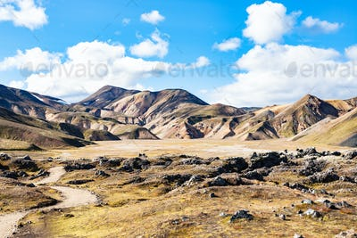 path to valley in Landmannalaugar in Iceland