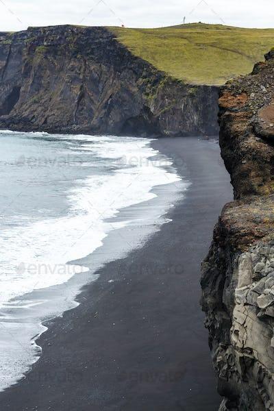 above view of Kirkjufjara beach in Iceland