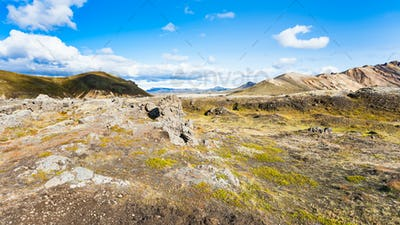 mountain meadow in Landmannalaugar in Iceland