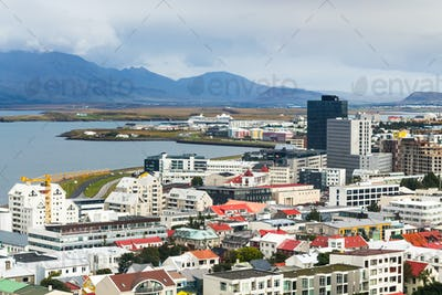 above view of Midborg district in Reykjavik