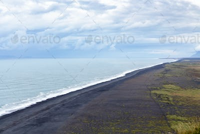 above view of Solheimafjara black beach in Iceland