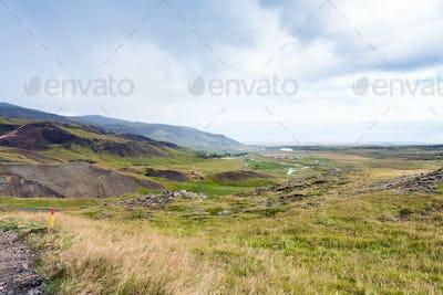mountain landscape of Hveragerdi in Iceland
