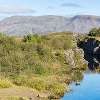 view of Silfra gorge in valley of Thingvellir
