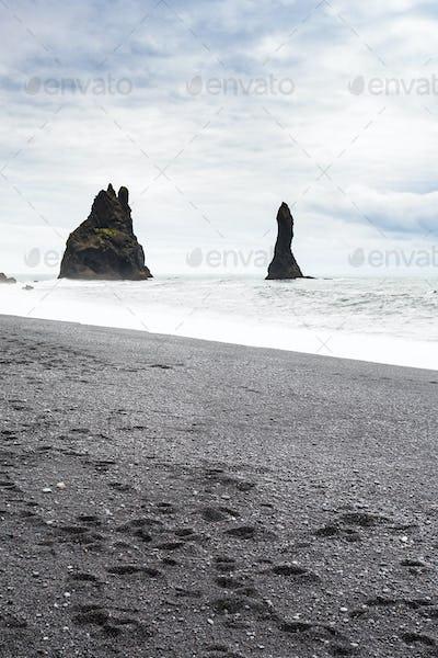 Reynisdrangar basalt stacks on Reynisfjara Beach