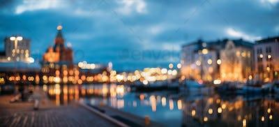 Helsinki, Finland. Abstract Blurred Bokeh Urban Panoramic Backgr