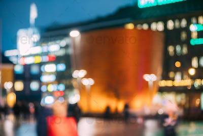 Helsinki, Finland. Natural Defocused Bokeh Background Of Kamppi