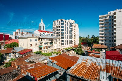 Modern Houses Rise Above The Old Rusty Roofs In Batumi, Adjara G