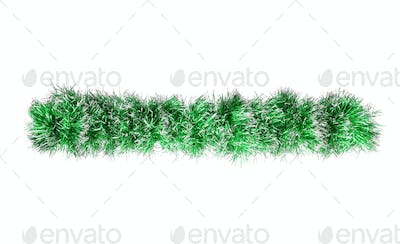 Christmas green silver tinsel. Isolated on a white background