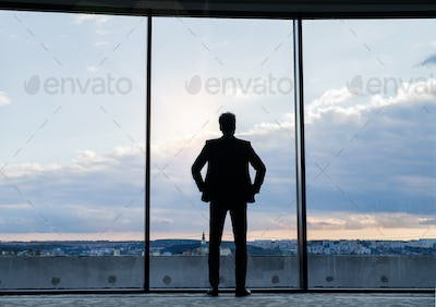 Mature businessman standing at the window in a hotel.