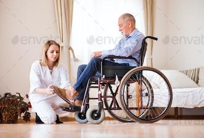 Nurse and senior man in wheelchair during home visit.