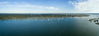 180 degree aerial view of Beaufort, South Carolina and surroundi