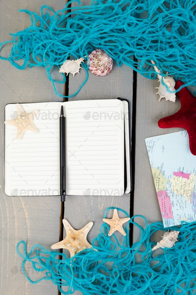 Travel concept to the ocean or sea. Travel plan, vacation accessories for trip.