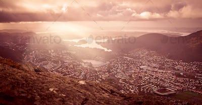 Panoramic view of Bergen town
