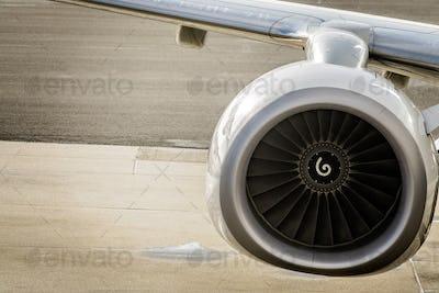 Close up shot of a jet engine