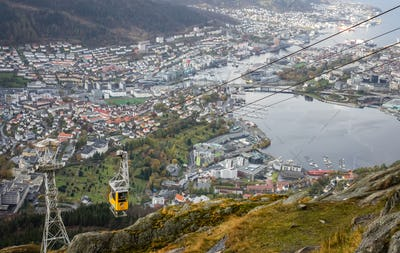 Ulriksbanen, the yellow cable car to the top of mount Ulriken