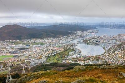 View of Bergen town from Mount Ulriken