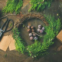 Flat-lay of Christmas and New Year decoration materials