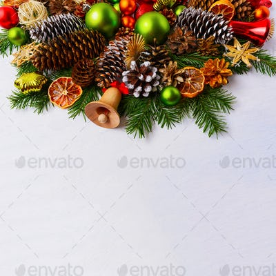 Christmas arrangement with fir branches and green balls, copy sp
