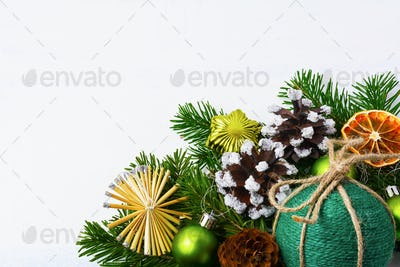 Christmas background with green handmade twine ornament, copy sp