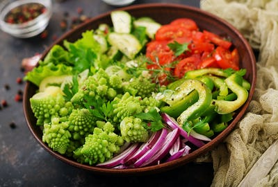 Vegan salad of fresh vegetables and cabbage romanesko. Dietary menu. Proper nutrition