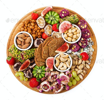 Mix fruits and nuts, healthy diet, Turkish sweets, eating lean. Flat lay. Top view