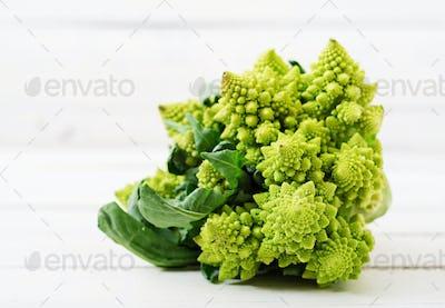 Cabbage romanesco  on white background