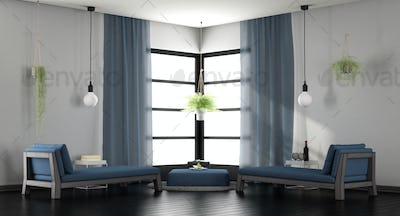 Modern white and blue lounge
