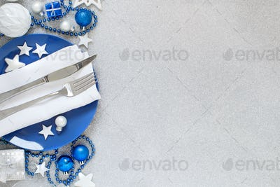 Silver and blue Christmas Table Setting