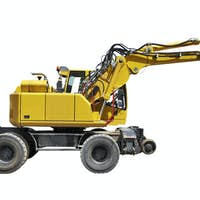 Yellow Bulldozer with shadow isolated on white