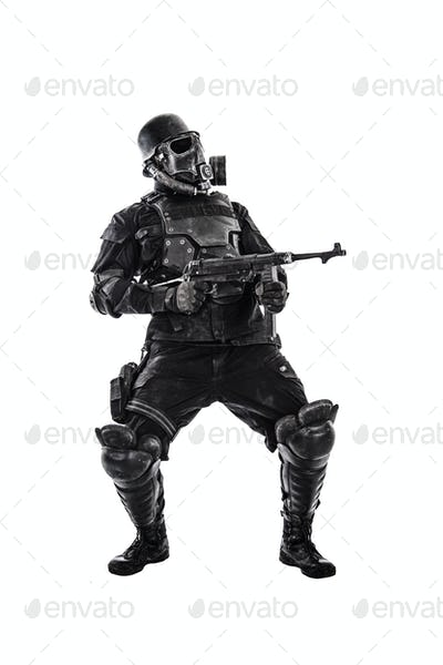 Futuristic nazi soldier with schmeisser