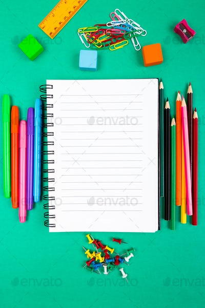 School Supplies. Concept Back to School. Top View. Flat Lay.