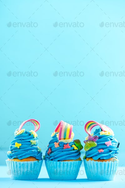 Colorful cupcakes, celebration or birthday card mockup