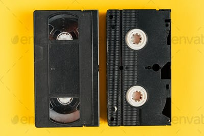 Used video casette tape, retro technology