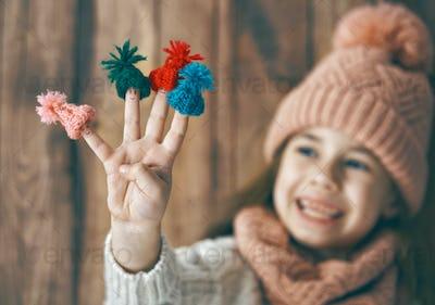 Winter portrait of little girl