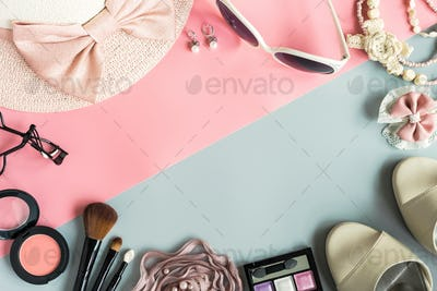 women cosmetics and fashion items with copy space