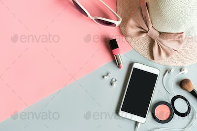 women cosmetics and fashion item with copy space
