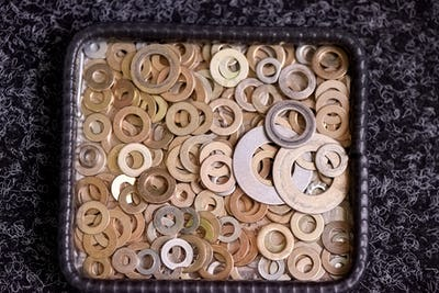 Steel washers on a plate