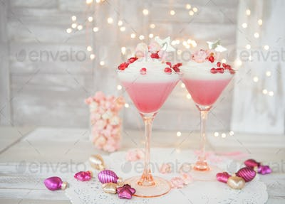 Raspberry panna cotta