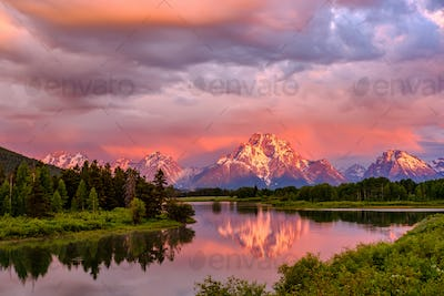 Mountains in Grand Teton National Park at sunrise. Oxbow Bend on the Snake River.