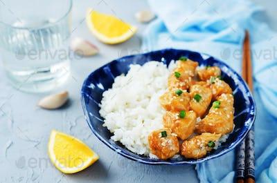 Orange teriyaki chicken with rice